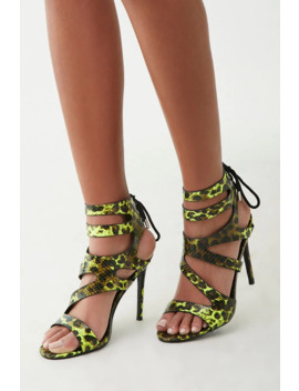 Faux Snake Skin Heels by Forever 21