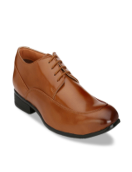 Men Tan Brown Solid Formal Derbys by Hi Re Ls