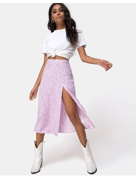 Saika Midi Skirt In Ditsy Rose Lilac By Motel by Motel