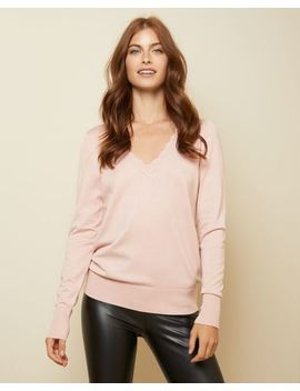Pink Scalloped V Neck Sweater by Rw & Co