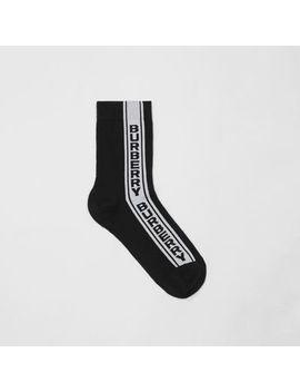 Logo Stripe Intarsia Cotton Blend Socks by Burberry