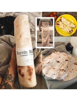 Burrito Funny Blanket Creative Blanket Throw Tortilla Texture Super Soft Fleece Throw Blanket For Office Sofa Super Soft Fleece Decke by Wish