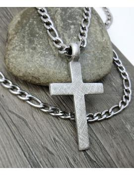 Men's Cross Necklace, Christian Jewelry   Rustic Cross Pendant With Bulky Stainless Steel Figaro Chain by Etsy