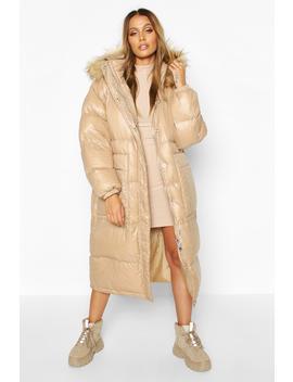 Longline Cire Faux Fur Trim Puffer by Boohoo