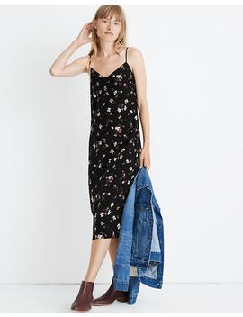 Tall Silk Side Slit Slip Dress In Backyard Blooms by Madewell