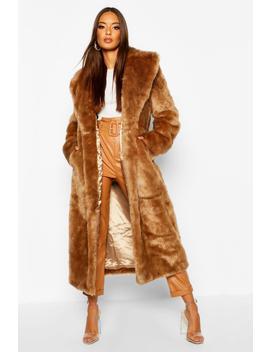 Luxe Faux Fur Longline Coat by Boohoo