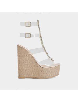Heir Jewel Embellished Perspex Platform Espadrille Wedge Heel In Rose Gold Faux Leather by Ego