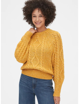 Marled Cable Knit Crewneck Sweater by Gap