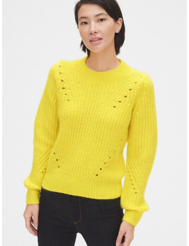 Brushed Wool Blend Pointelle Crewneck Sweater by Gap