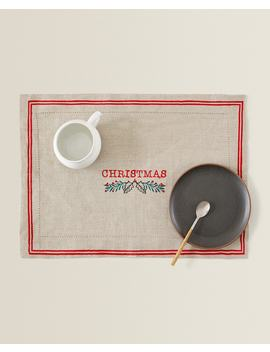 Linen Christmas Placemat  Table Linen   Dining    Holidays by Zara Home