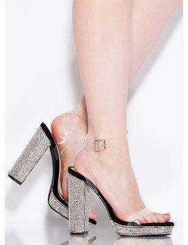 Clearly Gorgeous Chunky Rhinestone Heels by Go Jane