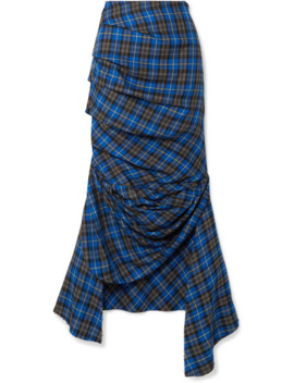 Gathered Checked Twill Midi Skirt by A.W.A.K.E. Mode
