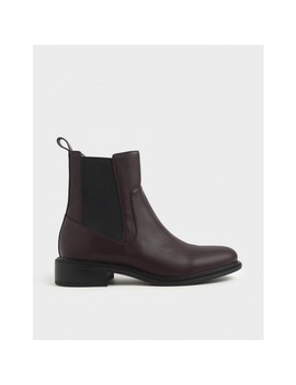 Round Toe Chelsea Boots by Charles & Keith