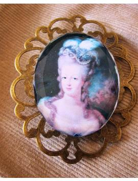 Large Oval Brooch Bevelled Glass With Retro Chic Portrait by Etsy