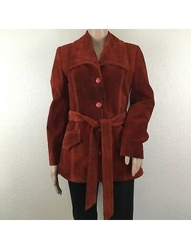 Women's Vintage 70s Rust Burnt Orange Genuine Suede Leather Uruguay Coat by Genuine Leather Uruguay