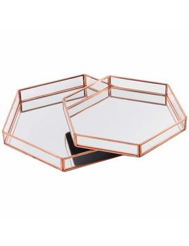 Diy Wedding Koyal Wholesale Glass Mirror Hexagonal Trays Vanity Set Of 2, Rose Gold by Koyal Wholesale
