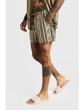 Baroque Striped Mid Length Swim Short by Boohoo