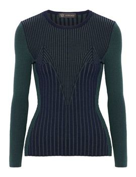 Ribbed Wool Blend Sweater by Versace