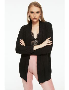 Black Shawl Collar Cardigan by Select