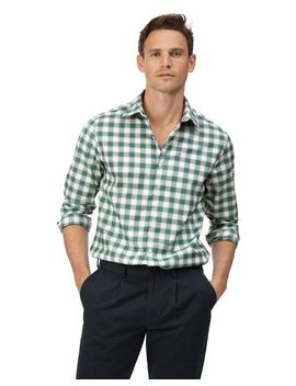 Extra Slim Fit Soft Washed Non Iron Stretch Oxford Green And White Check Shirt by Charles Tyrwhitt