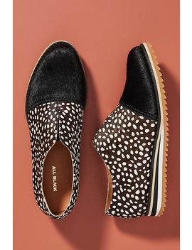 Black + White Dotted Slip On Sneakers by All Black