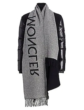 Mantella Logo Scarf Wool & Down Coat by Moncler