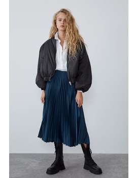 Pleated Satin Effect Skirt View All Skirts by Zara