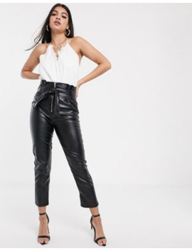 Parallel Lines Paperbag Waist Faux Leather Pants With Zip Detail by Parallel Lines