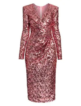 V Neck Sequin Sheath Dress by Dolce & Gabbana