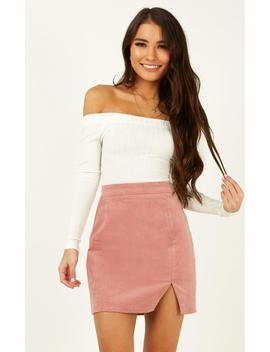 The Smiths Skirt In Blush Cord by Showpo Fashion