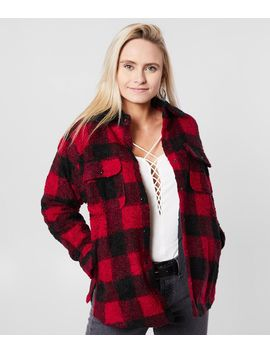 Nubby Sherpa Plaid Jacket by Miss Me
