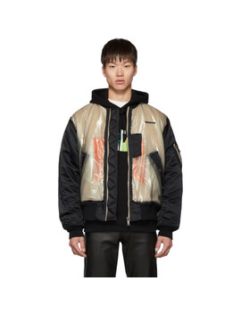 Black Graphic Print Skeleton Bomber Jacket by Christian Dada
