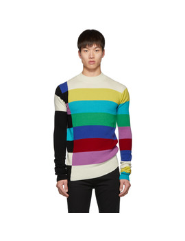 Multicolor Wool Bars Mock Neck Sweater by Christian Dada