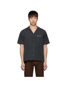 Black Check Graphic Open Collar Shirt by Christian Dada