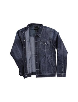 Men's Denim Jean Jacket (Dark Indigo, Medium) by 5 Elementz