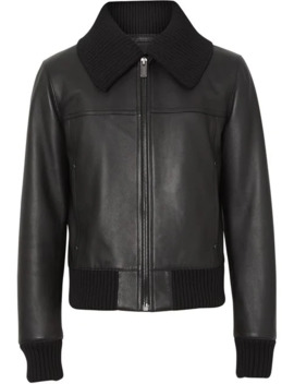 Detachable Collar Lambskin Bomber Jacket by Burberry