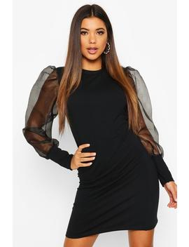 Organza Sleeve Sweat Dress by Boohoo