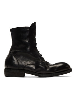 Black Lace Up Boots by Guidi