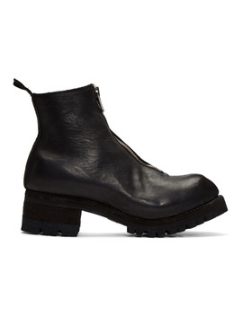 Black Front Zip Boots by Guidi