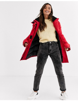 asos-design-borg-lined-anorak-coat-in-red by asos-design
