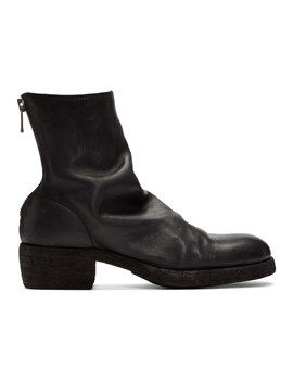 Black Back Zip Up Boots by Guidi