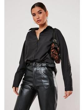 Black Deep Cuff Extreme Oversized Satin Shirt by Missguided