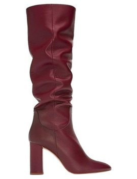 Red Burgundy New Slouchy Leather Tall 37 Boots/Booties by Zara
