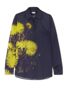 Clavelly Floral Print Cotton Poplin Shirt by Dries Van Noten