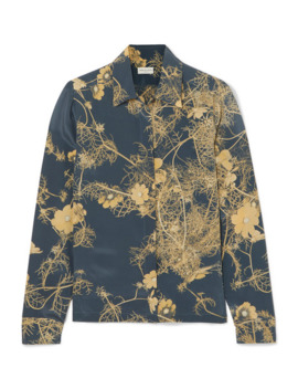 Cakool Floral Print Silk Crepe De Chine Shirt by Dries Van Noten