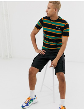ellesse-pluto-striped-pique-t-shirt-in-green_black by ellesse