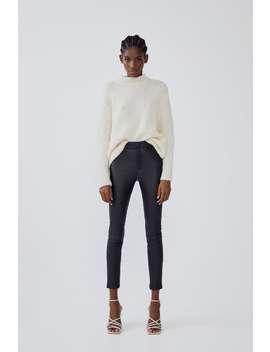 Leggings In Gewachster Optik Mit Hohem Bund by Zara