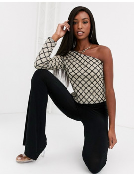 Top De Lentejuelas Con Escote Asimétrico Y Diseño De Rombos De Missguided Tall by Missguided
