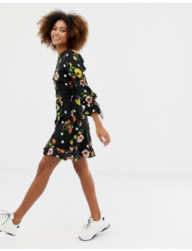 Influence Frill Skirt Back Detail Dress In Floral And Spot Print by Asos
