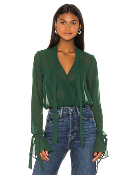 X Revolve Joli Tie Cuff Blouse In Forest Green by House Of Harlow 1960